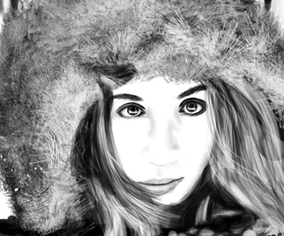Woman in Parka, black and white